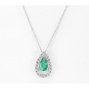 Pendant Necklace Gold 14K Prong Set Emerald And Di
